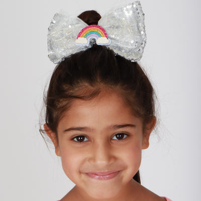 Girls Rainbow LED Sequin Bow