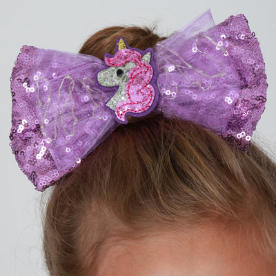 Girls Unicorn LED Sequin Bow