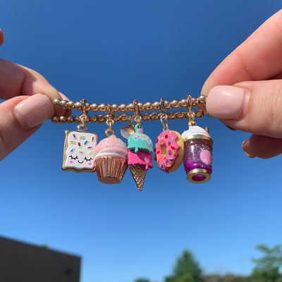 Gold Swivel Ice Cream Cone Charm - shopcharm-it