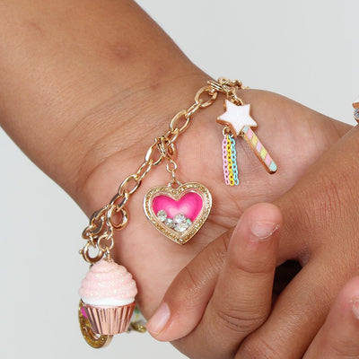 Girls Gold Heart Shaker Charm