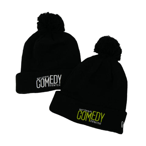 New Era NCC Knit Pom Beanie  - Black & Lime - National Comedy Center