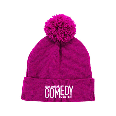 New Era NCC Knit Pom Beanie  - Pink & White - National Comedy Center