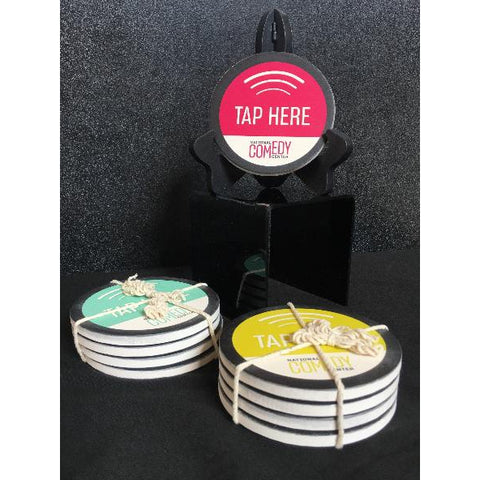 """Tap Here"" Coasters - Set of 4 - National Comedy Center"