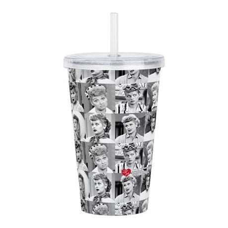 I Love Lucy Face Collage Acrylic Double Wall Tumbler