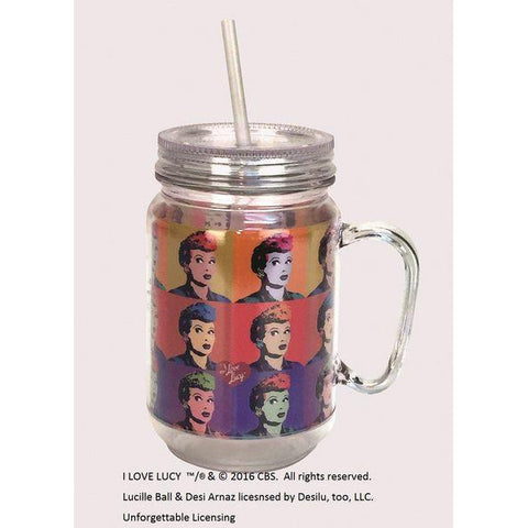 I Love Lucy Pop Art Mason Jar