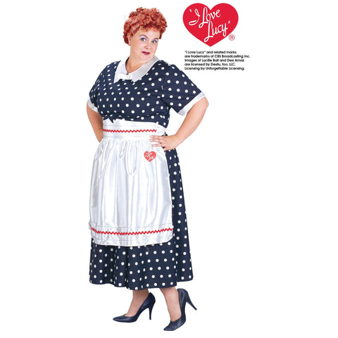 I Love Lucy Plus Size Classic Polka Dot Dress Costume - National Comedy Center