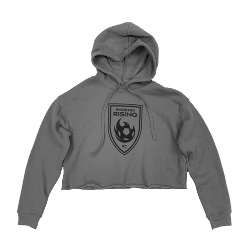 Phoenix Rising Women's Shield Crop Hoodie - Gray