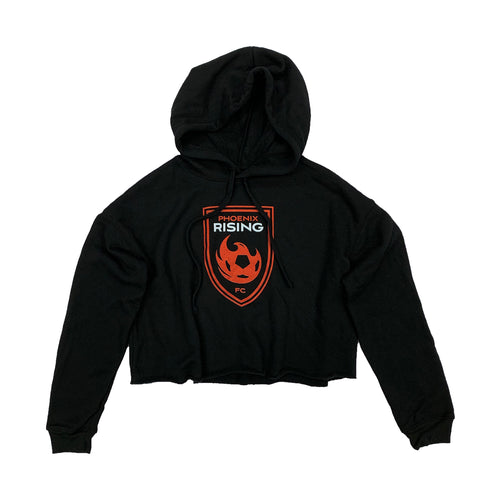 Phoenix Rising Women's Shield Crop Hoodie - Black