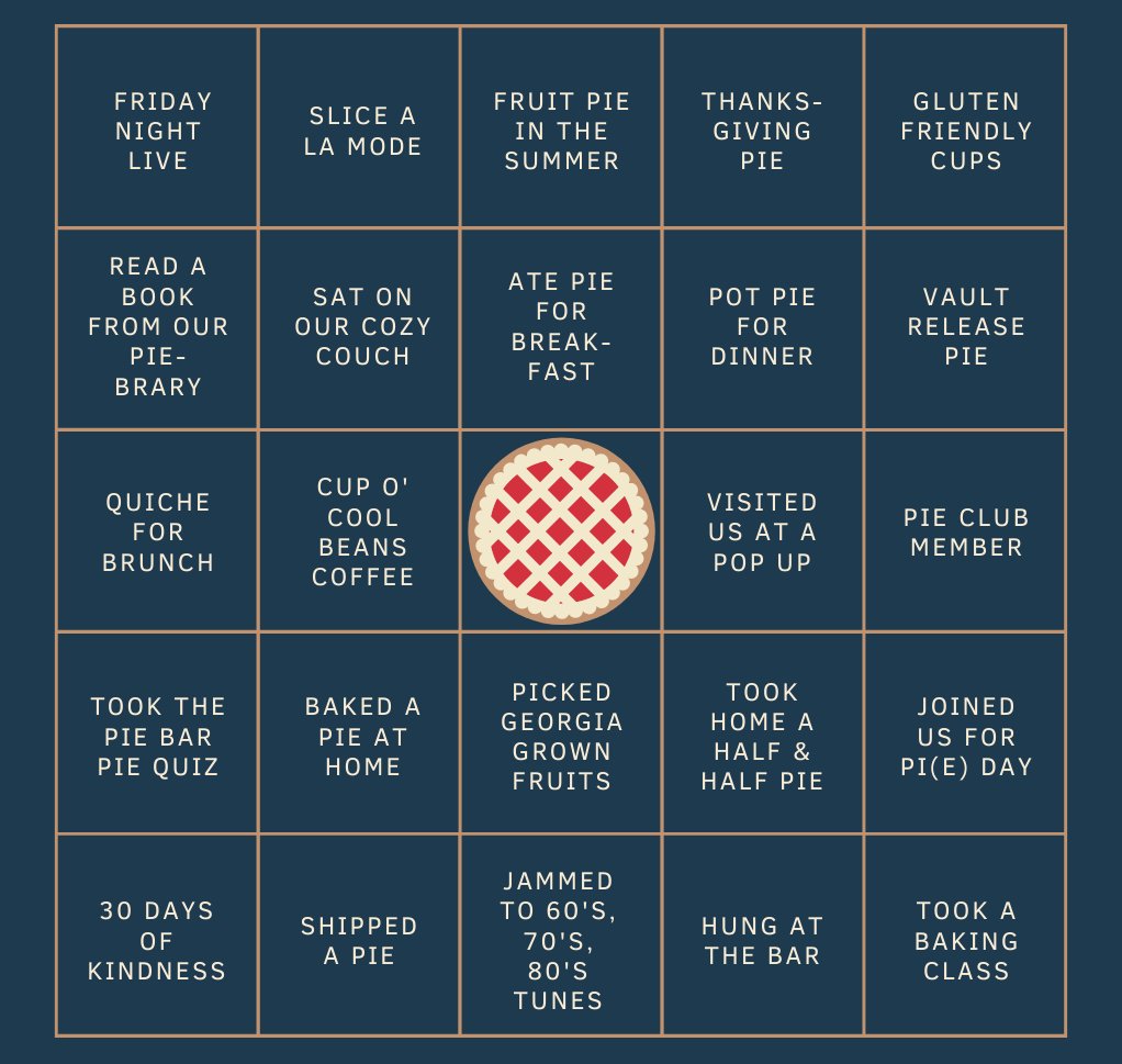Pie Bar Bingo