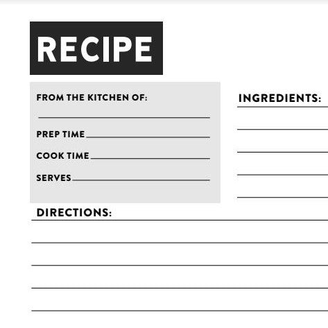 Pie Bar Recipe Card - Printable!