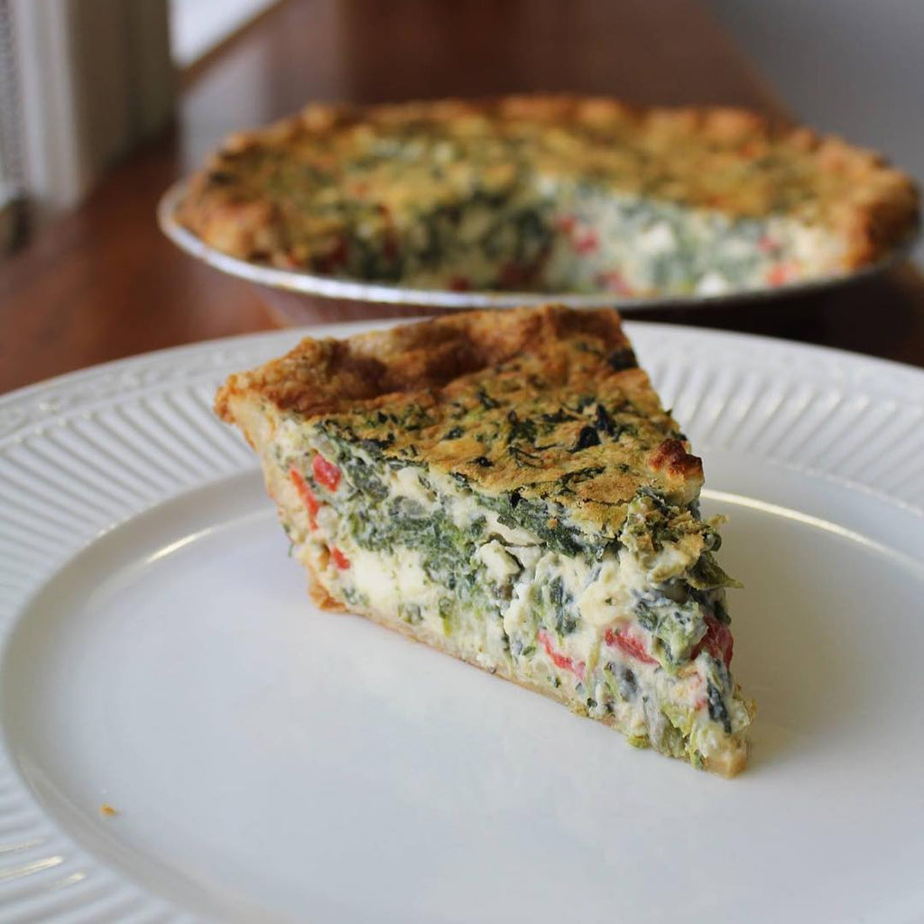 Spinach, Feta & Red Pepper Quiche (Take and Bake)