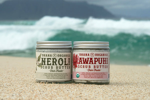 ʻOhana's Hawaiian twist on the traditional sugar/salt scrub. Choose from the sweet ginger smell of Awapuhi or the warm orange blossom of Neroli. Both scrubs have a unique medley of sugar and Hawaiian salts. Red Alea (red clay) and Black lava (with activated charcoal) help exfoliate and detoxify with a little going a long way! Work a small amount on warm skin and watch the salts slowly soak in while the pure essential oils take you away to sunny beaches and island breezes.