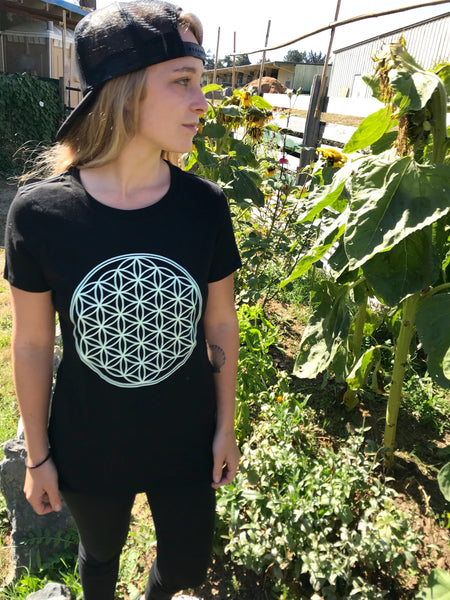 Ladies Flower of Life T-Shirt - Black