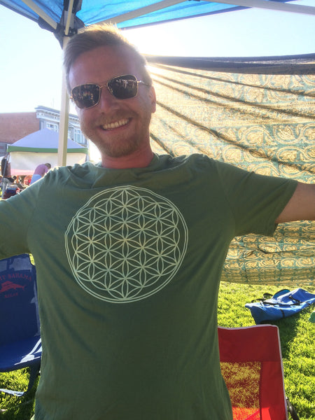 Mens Flower Of Life Shirt - Olive Green