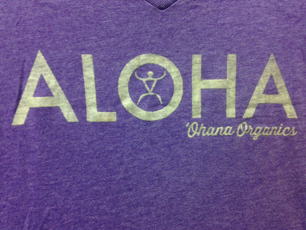 Ladies Aloha V Neck T- Shirt - Purple