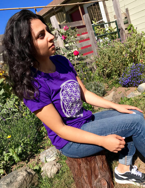 Ladies Flower of Life T-Shirt - Purple