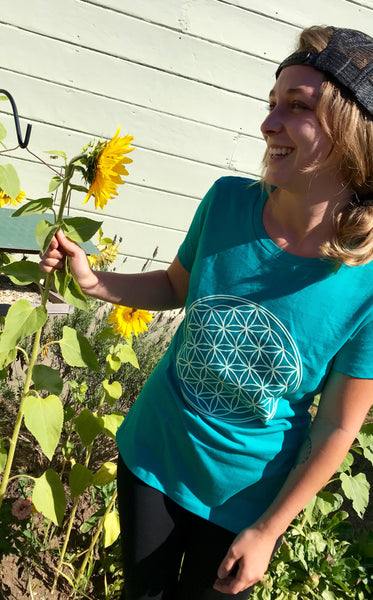 Ladies Flower of Life T-Shirt - Teal