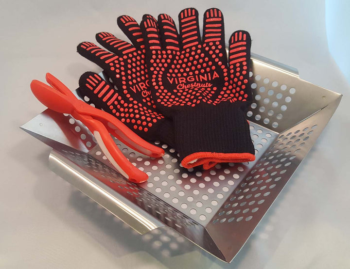 Roasting kit, stainless steel with gloves and cutter