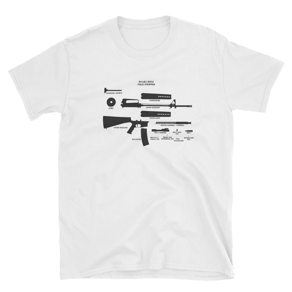 M16A2 Field Stripped - Short-Sleeve Unisex T-Shirt White
