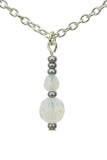 Double White Opal Silver October Birthstone Pendant