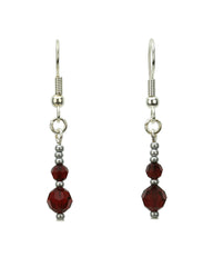 Double Garnet Silver January Birthstone Earrings