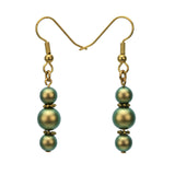 Irridescent Green Pearls Gold Dangle Earrings