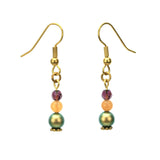 Irridescent Green Pearls, Aventurine & Amethyst Gold Earrings