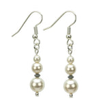 Pearl Three Bead June Birthstone Earrings