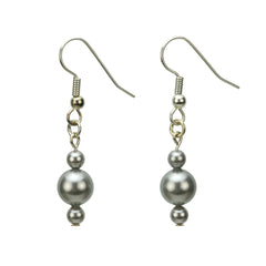 Light Grey Pearls Silver Earrings