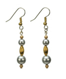 Gold Ovals and Pearls Gold and Silver Earrings