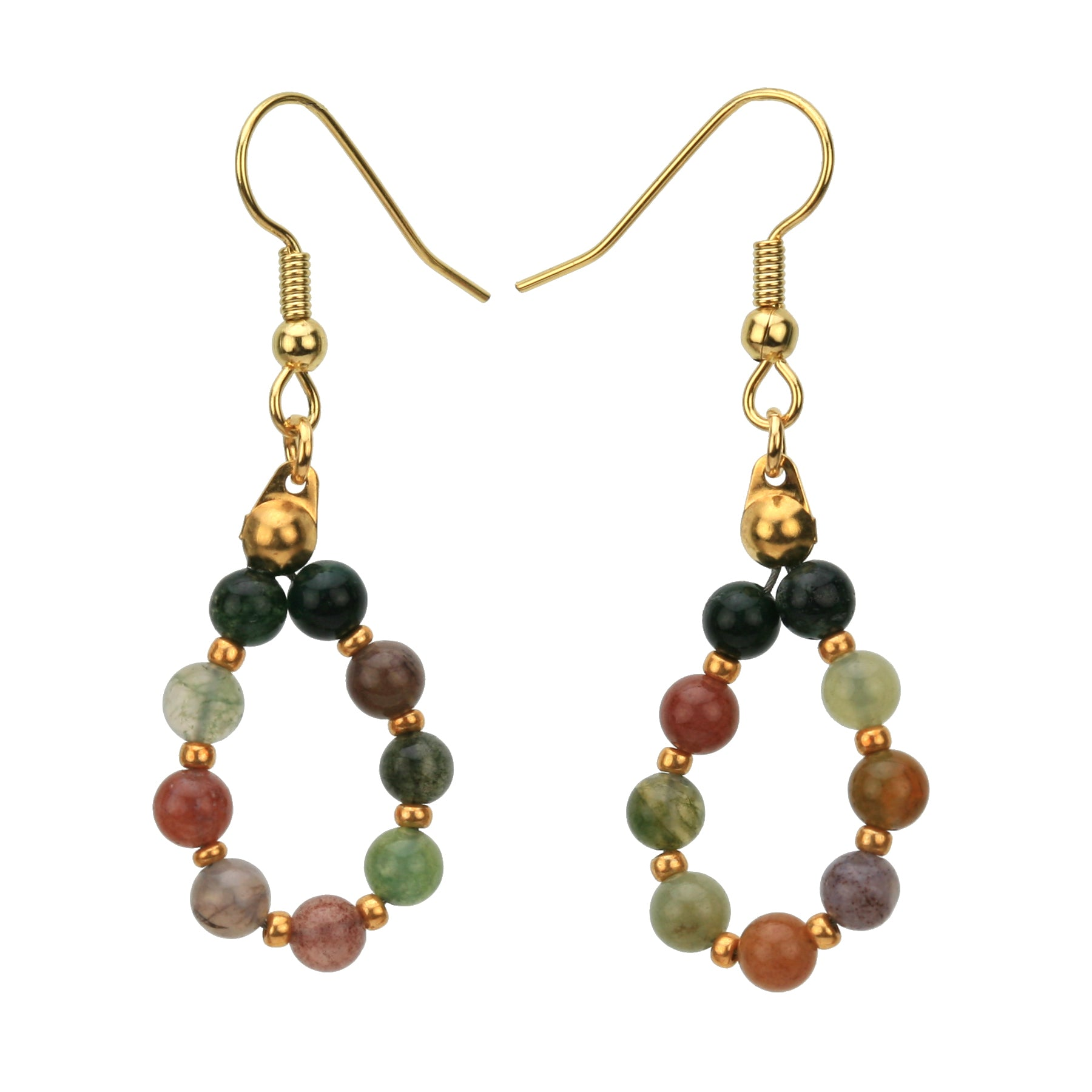 Fancy Jasper Gold Hoop Earrings