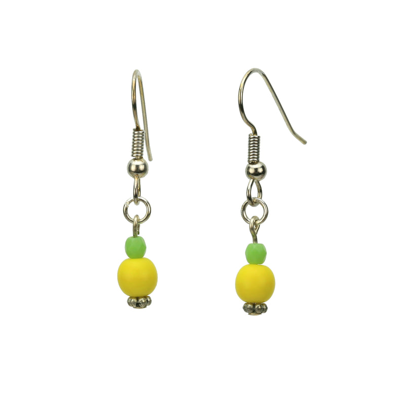 Yellow and Green Silver Earrings