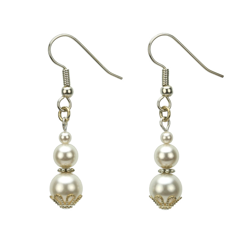 Triple White Pearl Silver Earrings