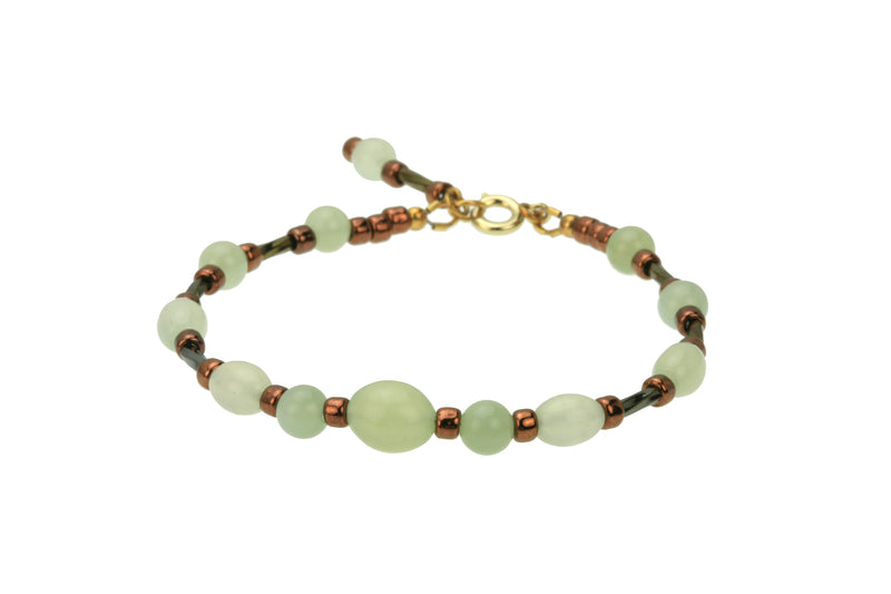 Seagreen New Jade, Twisted Gold and Bronze Gold Bracelet