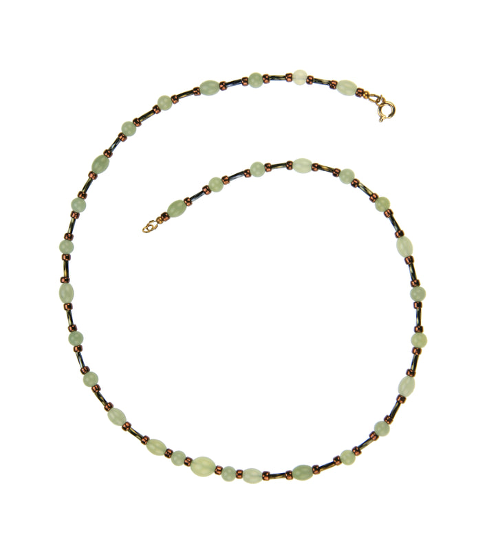 Seagreen New Jade, Twisted Gold and Bronze Gold Necklace