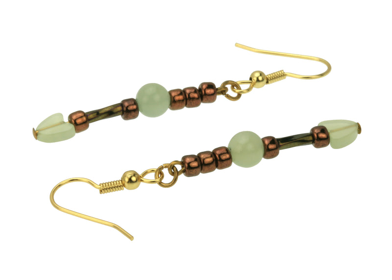 Seagreen new Jade, Twisted Gold and Bronze Gold Earrings