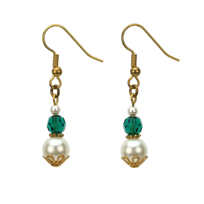 Gold May Birthstone Earrings