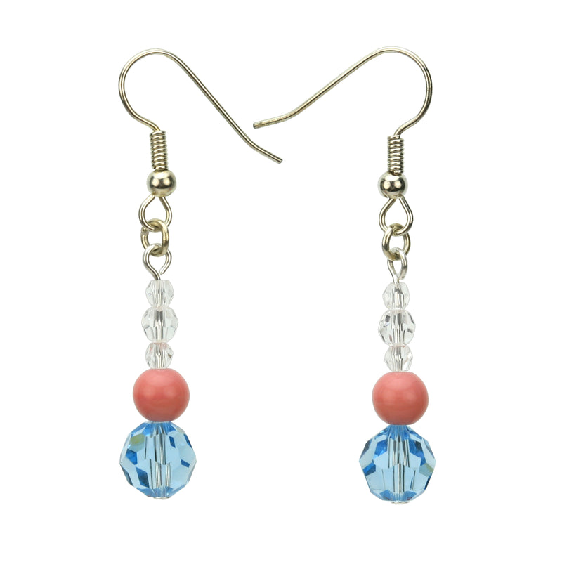 Aqua, Pink and Crystal Dangle Silver Earrings