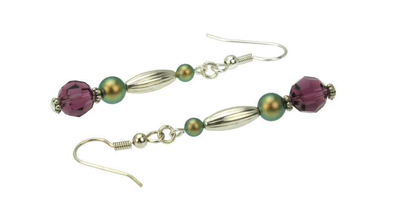 Amethyst and Iridescent Green Pearls Silver Dangle Earrings