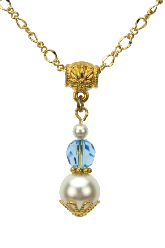 Gold March Birthstone Pendant