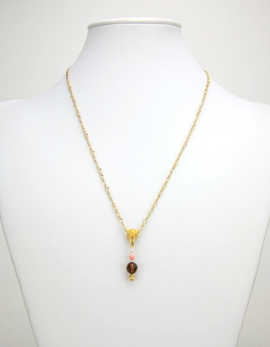 Smoked Topaz, Coral and White Pearl Gold Pendant