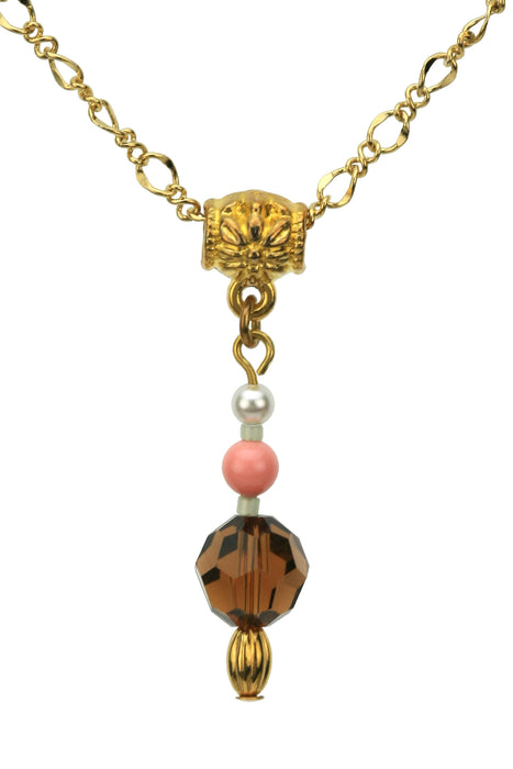 Smoked Quartz, Coral and White Pearl Gold Pendant