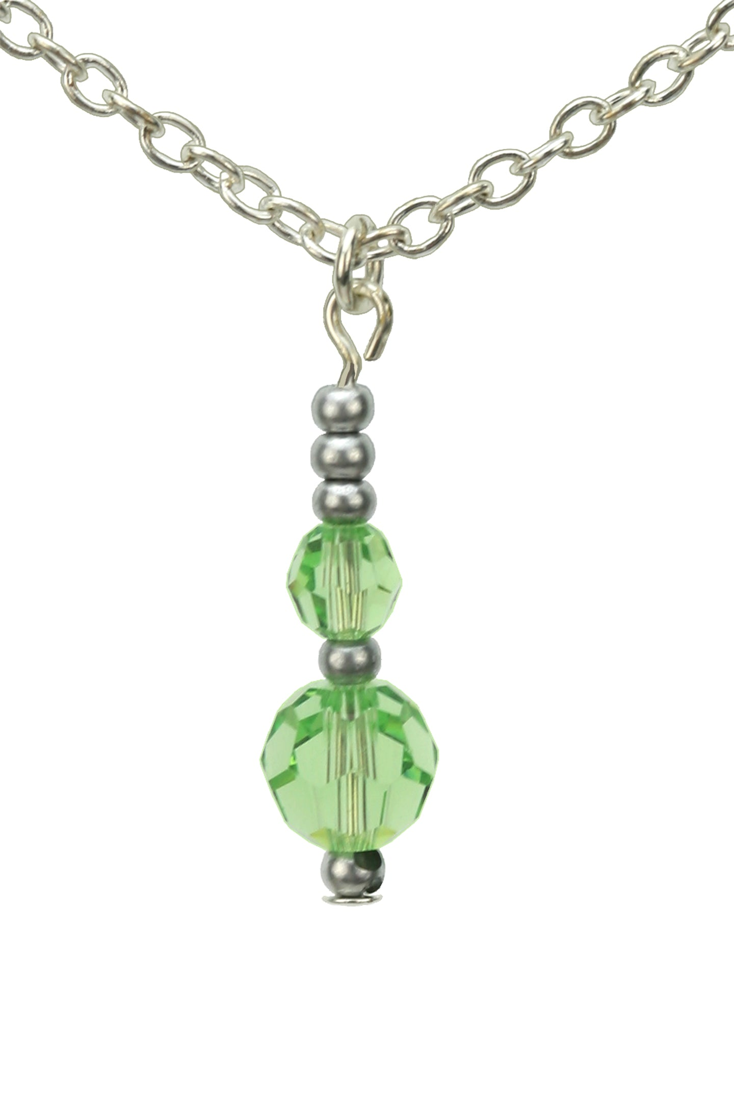 Double Peridot Silver August Birthday Pendant