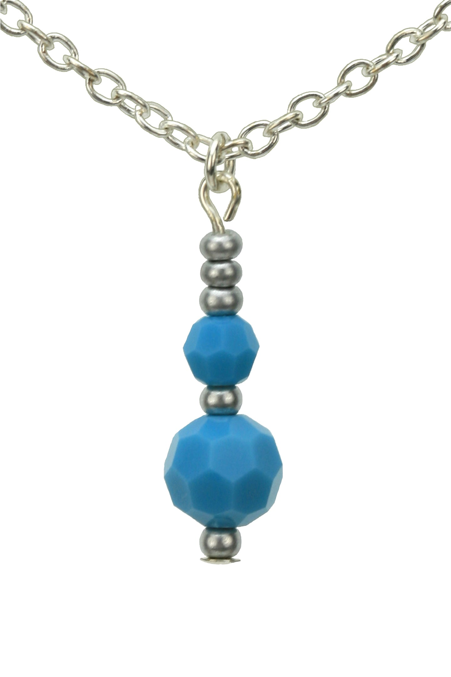 Double Turquoise Silver December Birthstone Pendant