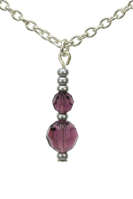 Double Amethyst Silver February Birthstone Pendant