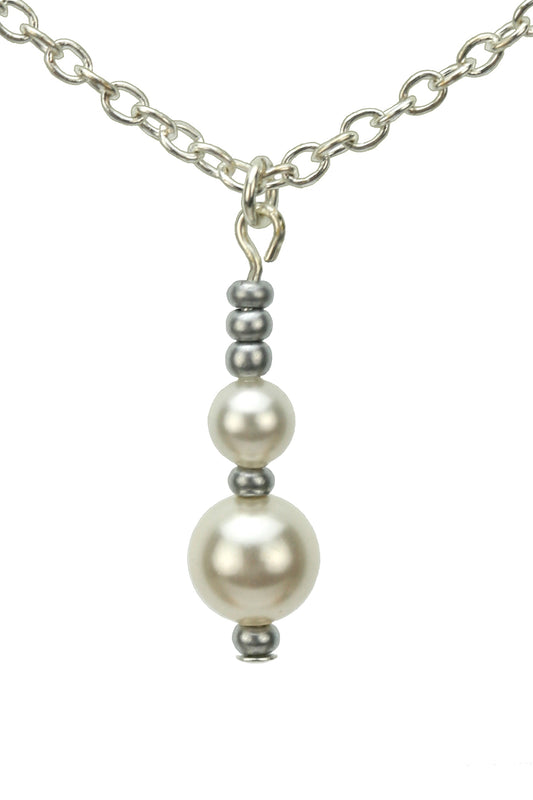 Double White Pearls and Seed Beads Silver Pendant