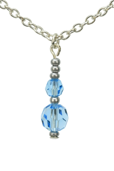 Double Aquamarine Silver March Birthstone Pendant