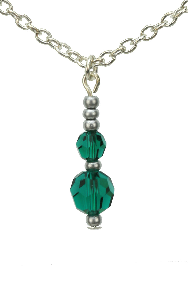 Double Emerald Silver May Birthstone Pendant
