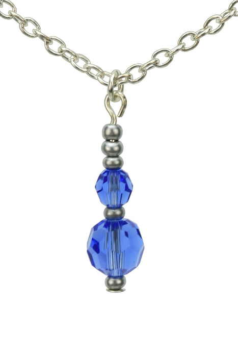 Double Sapphire Silver September Birthday Pendant