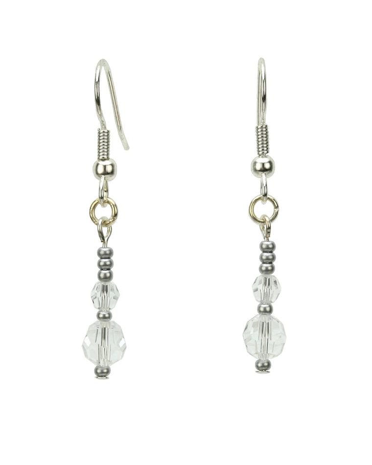 Double Crystal Silver April Birthstone Earrings